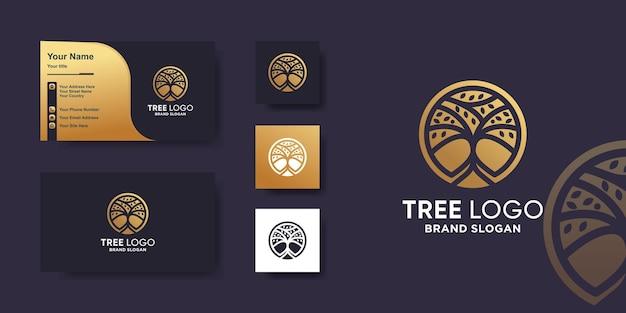 Logo d'arbre avec concept créatif doré et conception de carte de visite vecteur premium