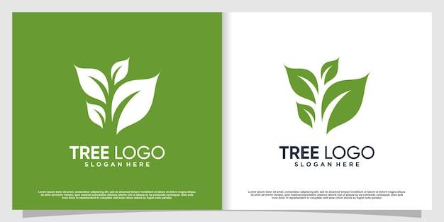 Logo de l'arbre avec le concept de feuille créative vecteur premium