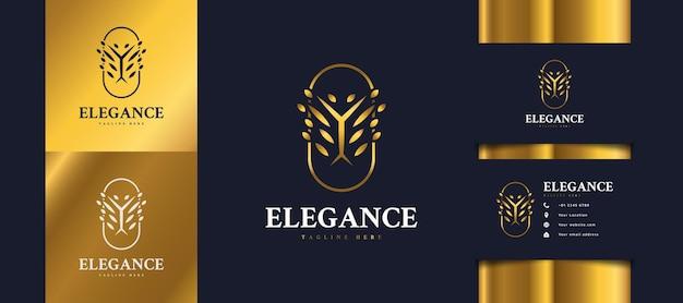 Logo D'arbre Doré De Luxe Avec Feuillage En Cercle, Peut être Utilisé Pour Les Logos D'hôtel, De Spa, De Beauté Ou D'immobilier Vecteur Premium