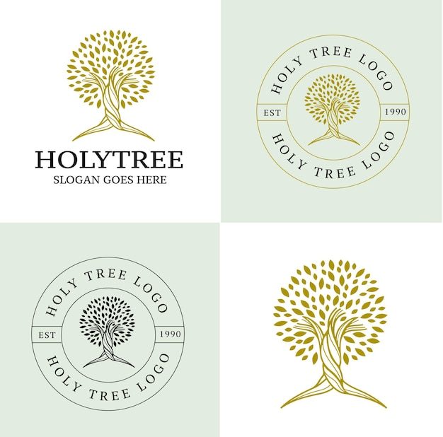 Logo d'arbre de houx