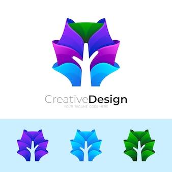 Logo d'arbre avec nature de conception moderne