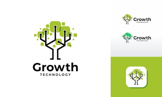 Le logo d'arbre numérique conçoit le vecteur de concept, vecteur de symbole de logo d'arbre de croissance de technologie