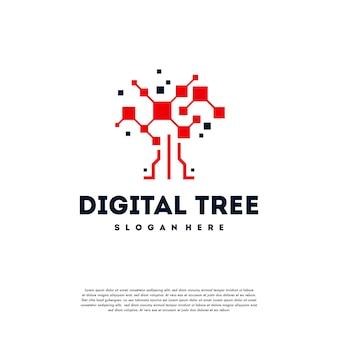 Le Logo D'arbre Numérique Moderne Conçoit Le Vecteur De Concept, Vecteur De Symbole De Logo D'arbre De Technologie Vecteur Premium