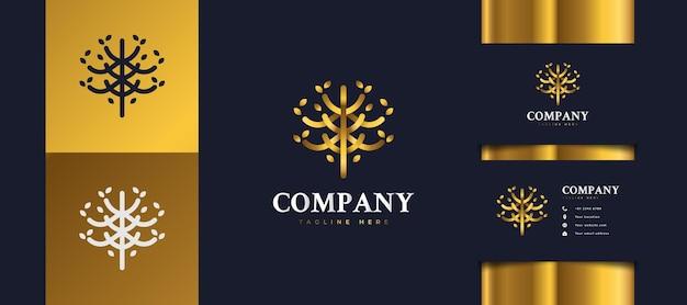 Logo d'arbre d'or de luxe avec feuillage, adapté aux logos d'hôtels, de spas, de centres de villégiature ou d'immobilier