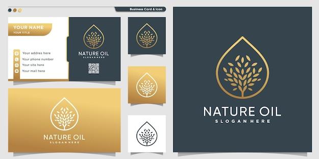 Logo d'arbre avec un style d'arbre moderne dégradé doré vecteur premium