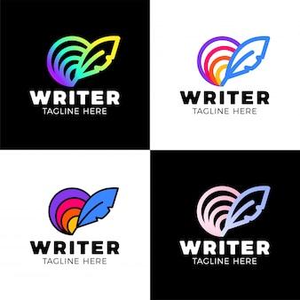 Logo arc-en-ciel créatif cercle plume