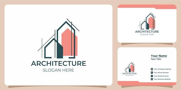 Logo architectural minimaliste avec création de logo de style art et modèle de carte de visite