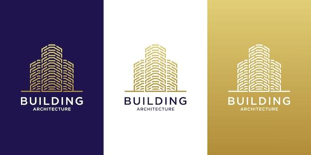 Logo d'architecture de bâtiment de luxe avec un design couleur or