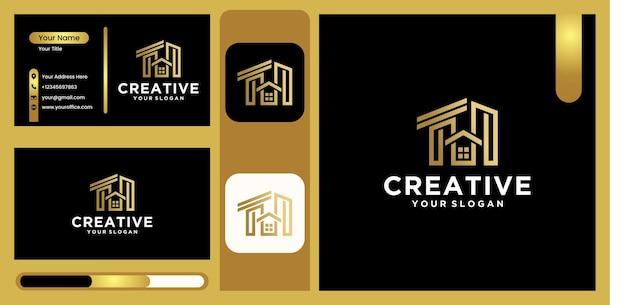 Logo d'architecture de maison moderne, logo de construction avec un design d'art moderne en couleur or luxueuse et tendance