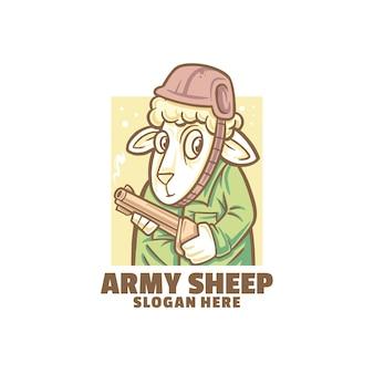 Logo de l'armée de moutons isolé sur blanc