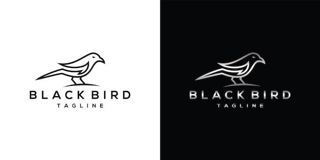 Logo d'art de ligne black raven