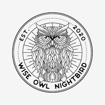 Logo art ligne hibou