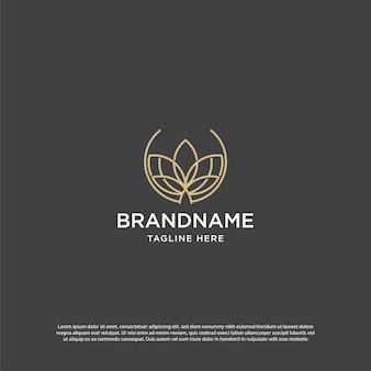 Logo d'art de ligne de lotus d'or. logo feuille plate