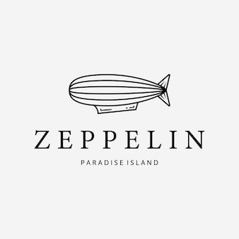 Logo d'art de ligne zeppelin simple, illustration du concept de transport aérien, ballon à air de vecteur de conception