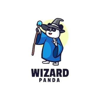 Logo assistant panda mascotte style cartoon