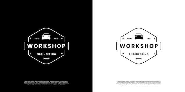 Logo d'atelier rétro, réparation, service de conception de logo automobile style vintage minimaliste