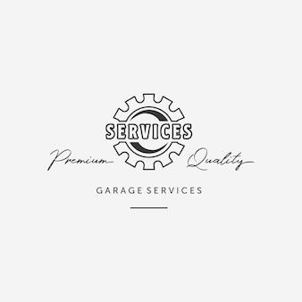Logo automobile d'engrenage d'art de ligne simple, conception d'ingénierie mécanique de services automobiles, vecteur automobile d'illustration de garage