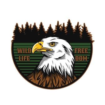 Logo d'aventure avec le caractère de mascotte d'aigle