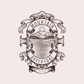 Logo d'aventure en montagne avec concept vintage