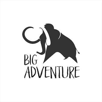 Logo d'aventure avec une silhouette de mammouth noir