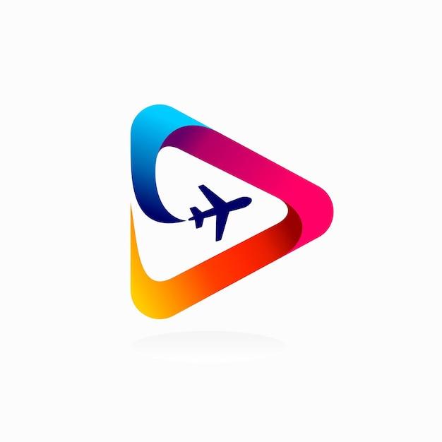 Logo de l'aviation avec concept de bouton de lecture