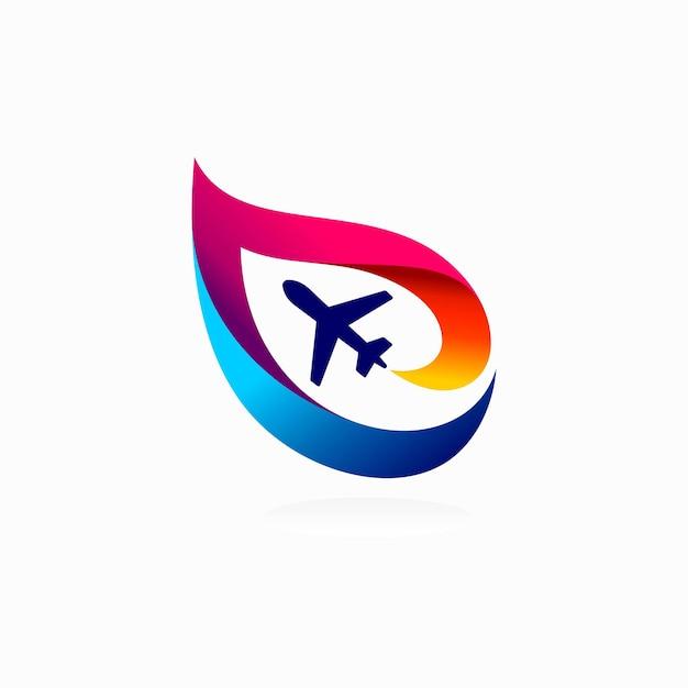 Logo de l'aviation avec concept coloré