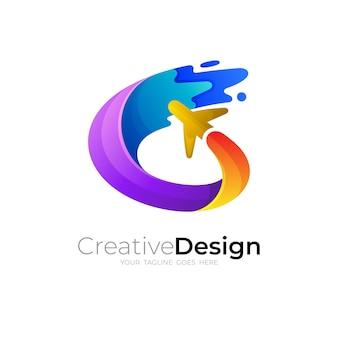 Logo d'avion avec vecteur de conception swoosh, style 3d