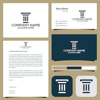 Logo d'avocat ou d'hôtel ou de bâtiment ou de villa avec carte de visite