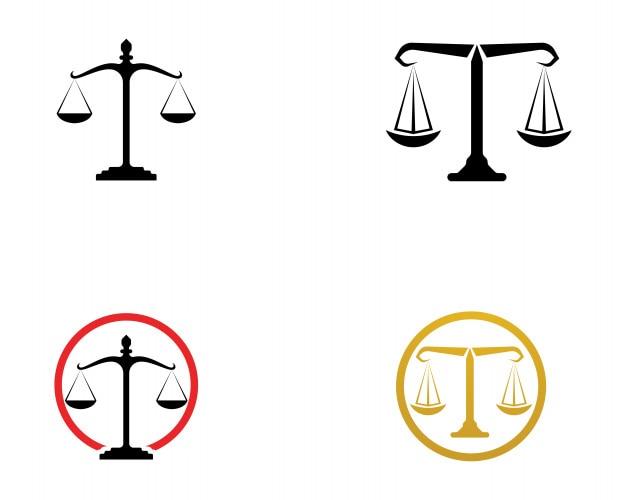 Logo de l'avocat de la justice et des icônes de modèle de symboles app