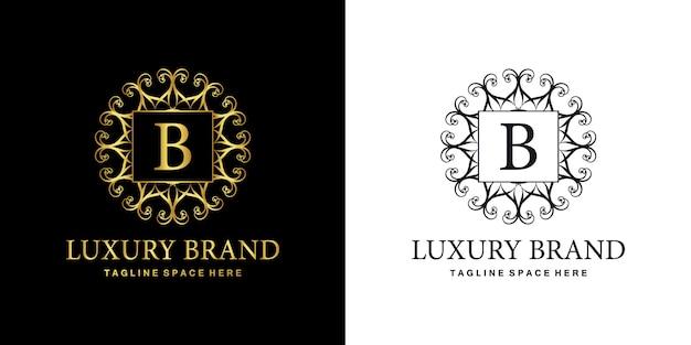 Logo b emblème d'ornement de luxe