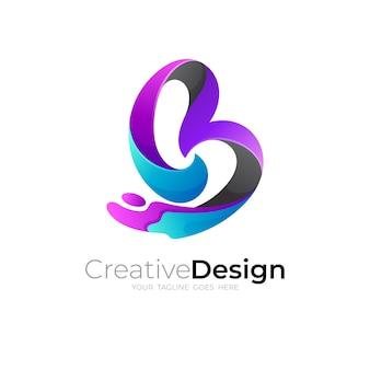 Logo b avec modèle de conception colorée, logo 3d