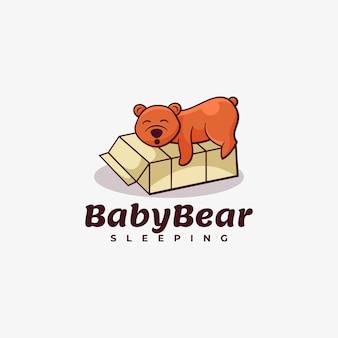 Logo baby bear style de mascotte simple.