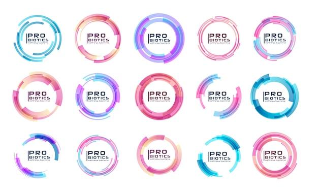 Logo de bactéries probiotiques. prébiotique, lactobacillus. icônes médicales