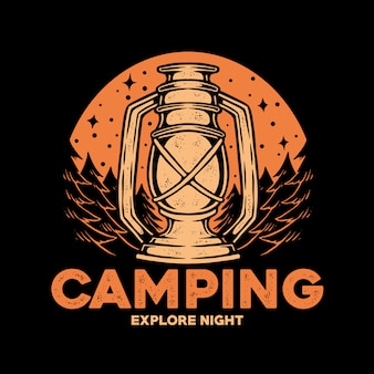 Logo de badge de camping