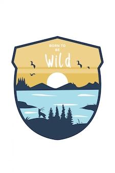 Logo badge vector de mountain park