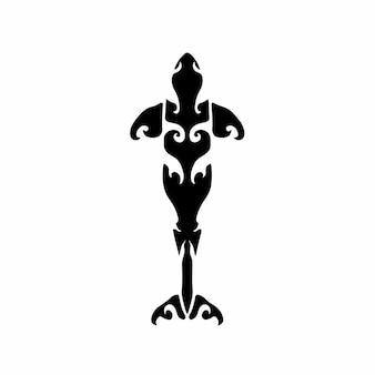Logo baleine tribal conception tatouage pochoir illustration vectorielle