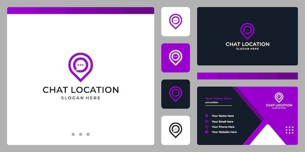 Logo de balise de localisation et logo de chat. conception de carte de visite.