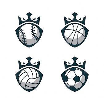 Logo de ballon de sport avec couronne