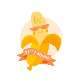Logo de banane avec lunettes et ruban