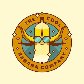 Logo de banane avec des lunettes