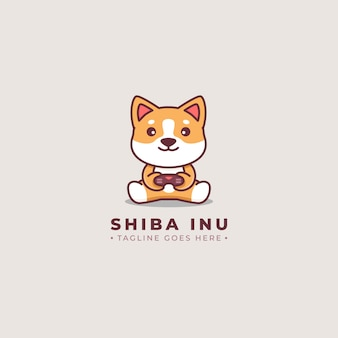 Logo de bande dessinée de joueur de shiba inu