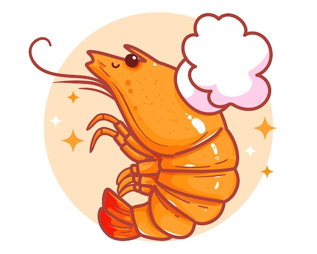Logo de bannière de fruits de mer de crevettes mignon illustration d'art de dessin animé dessiné à la main