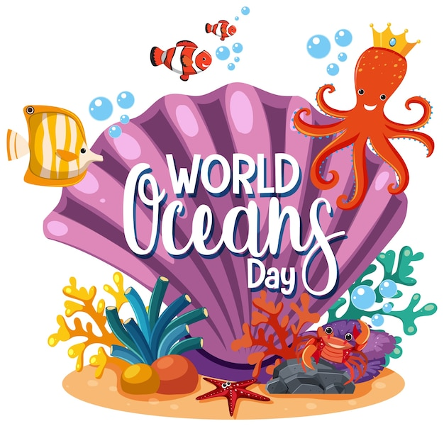 Logo ou bannière de la journée mondiale des océans avec grosse coquille et poulpe mignon