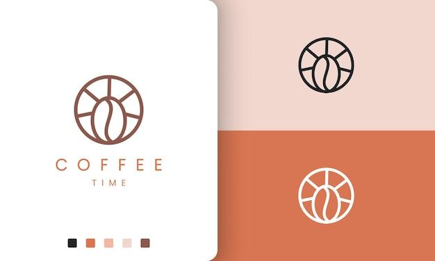 Logo de bar à café de cercle dans une forme moderne et simple