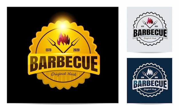 Logo de barbecue avec concept vintage