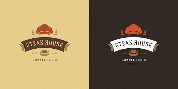 Logo barbecue illustration vectorielle grill house ou barbecue restaurant menu emblème steak de viande