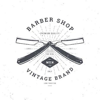 Logo barber shop avec double rasoir, badge vintage