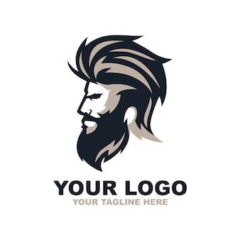 Logo de barbier homme barbe