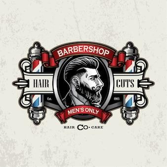 Logo de barbier vintage