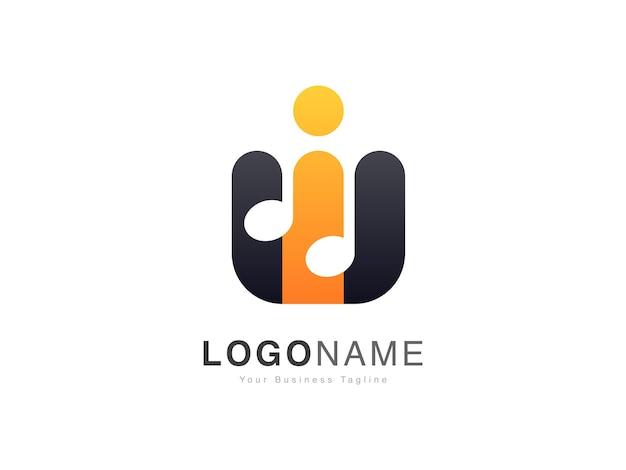 Logo de base d'onde sonore musicale avec style dégradé